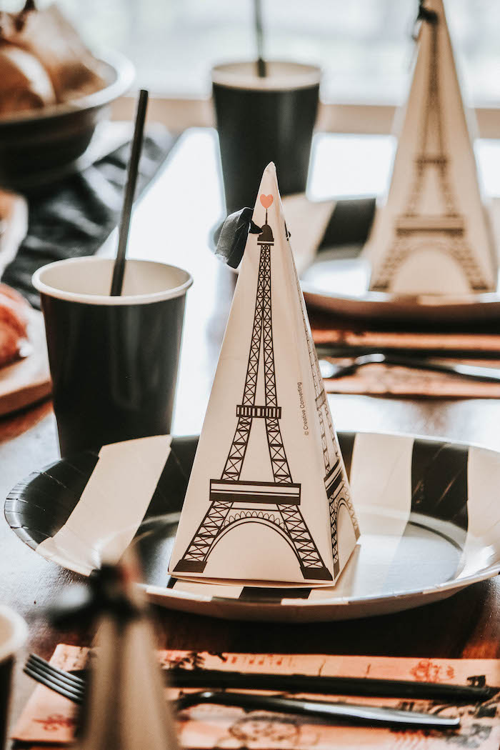 Black & White Parisian-inspired Table Setting from a French Market Birthday Party on Kara's Party Ideas | KarasPartyIdeas.com (21)