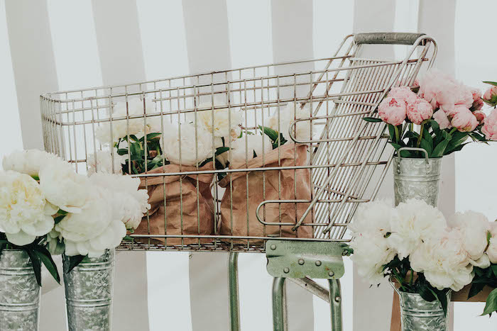 Blooms in a shopping cart from a French Market Birthday Party on Kara's Party Ideas | KarasPartyIdeas.com (12)