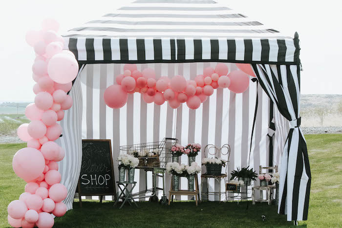 Floral Market Tent from a French Market Birthday Party on Kara's Party Ideas | KarasPartyIdeas.com (8)