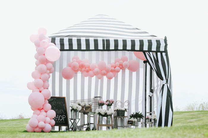 Flower Shop Tent from a French Market Birthday Party on Kara's Party Ideas | KarasPartyIdeas.com (7)