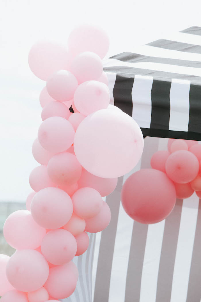 Pink Balloon Garland from a French Market Birthday Party on Kara's Party Ideas | KarasPartyIdeas.com (6)