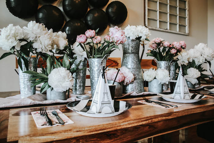 Parisian Themed Guest Table from a French Market Birthday Party on Kara's Party Ideas | KarasPartyIdeas.com (5)