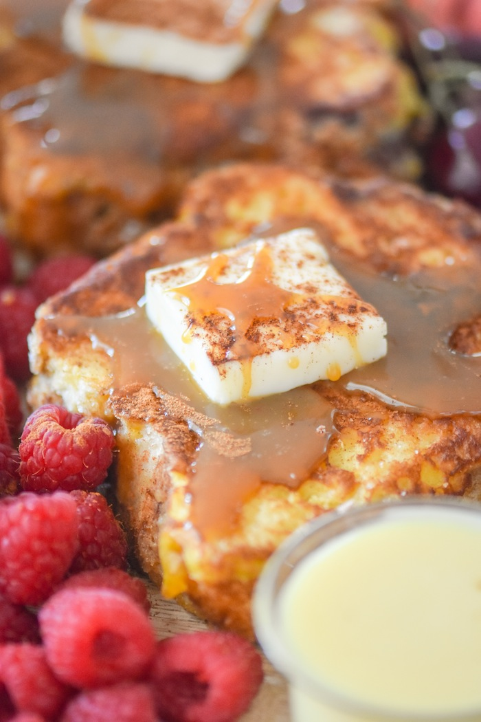 Butter and Homemade Syrup on French Toast for the French Toast Charcuterie Board with International Delight #AD via Kara's Party Ideas | karaspartyideas.com
