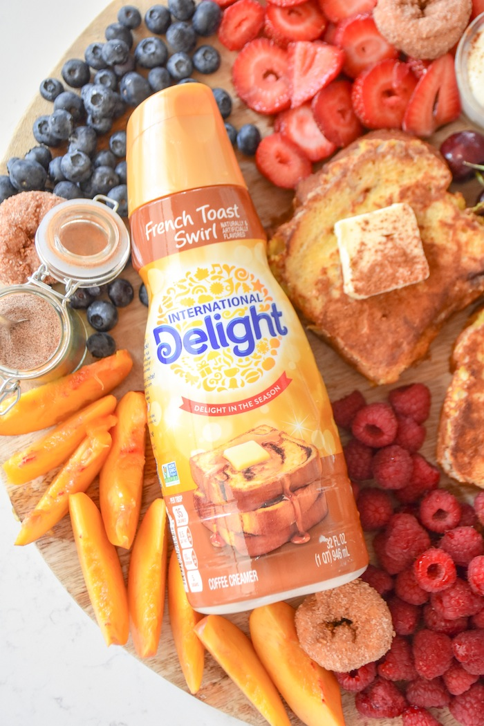 Fresh fruits and International Delight Coffee Creamer | French Toast Charcuterie Board with International Delight #AD via Kara's Party Ideas | karaspartyideas.com