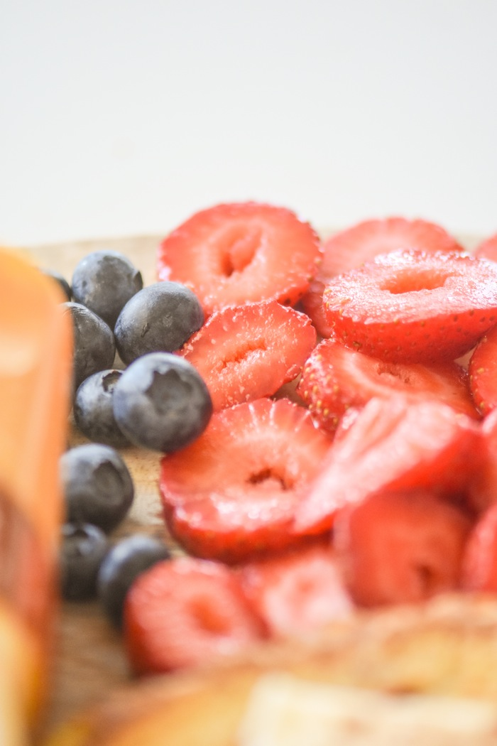 Strawberries and blueberries | French Toast Charcuterie Board with International Delight #AD via Kara's Party Ideas | karaspartyideas.com