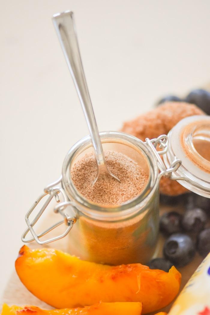Cinnamon and sugar bowl | French Toast Charcuterie Board with International Delight #AD via Kara's Party Ideas | karaspartyideas.com