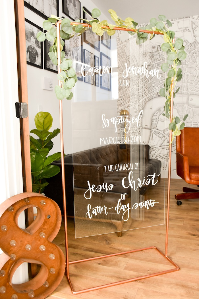 Acrylic Copper Sign Garden Rustic Earth Right After Rain Farmhouse Boy Baptism Party Luncheon LDS by Kara's Party Ideas KarasPartyIdeas.com 23
