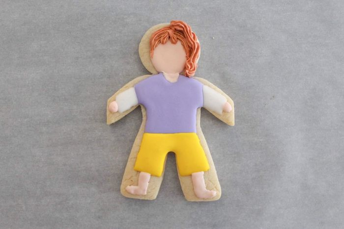 Hair detail from a Stranger Things Sugar Cookies Tutorial on Kara's Party Ideas | KarasPartyIdeas.com