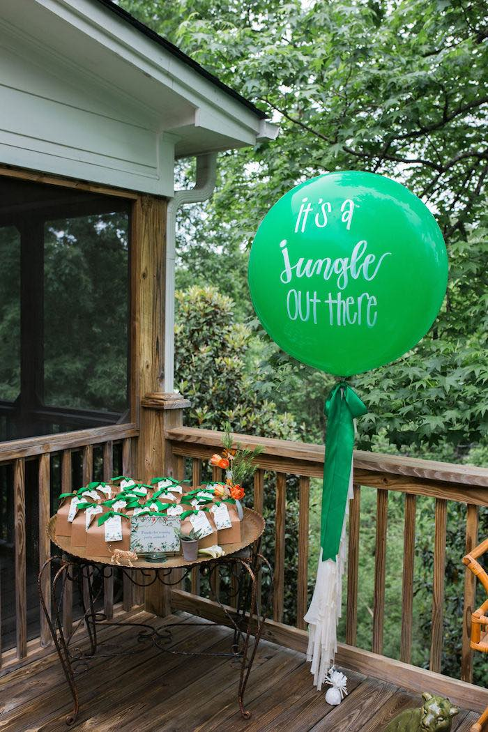 Jungle-inspired Favor Table from a Jungle Birthday Party on Kara's Party Ideas | KarasPartyIdeas.com (19)