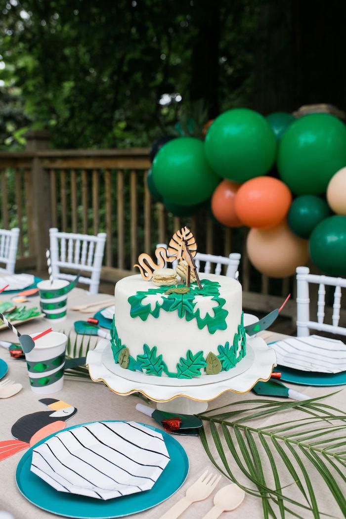Jungle Themed Birthday Cake from a Jungle Birthday Party on Kara's Party Ideas | KarasPartyIdeas.com (14)