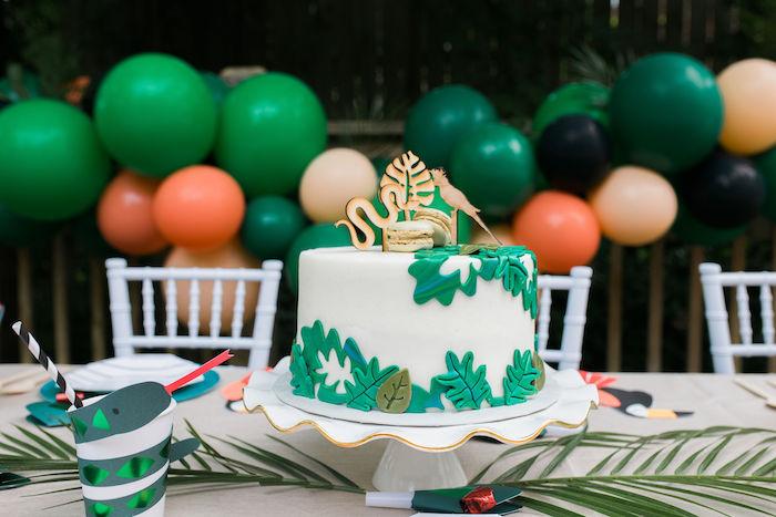Jungle Cake from a Jungle Birthday Party on Kara's Party Ideas | KarasPartyIdeas.com (13)