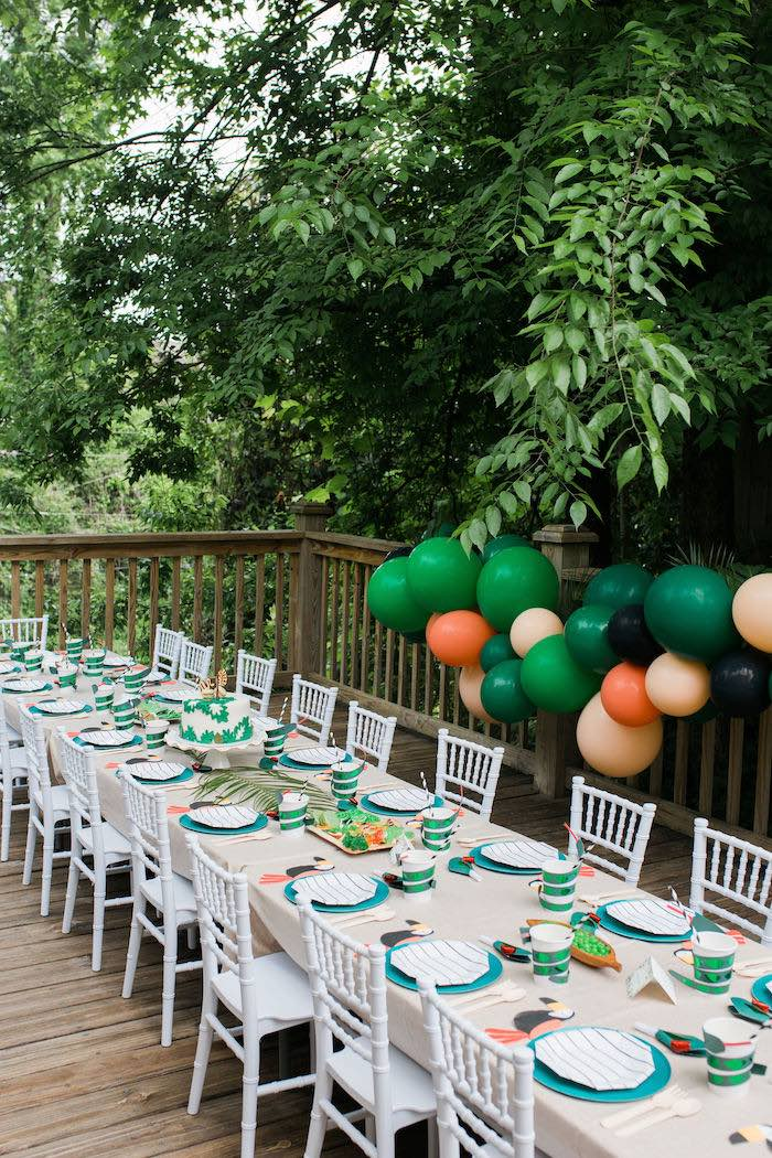 Jungle Themed Guest Table from a Jungle Birthday Party on Kara's Party Ideas | KarasPartyIdeas.com (12)