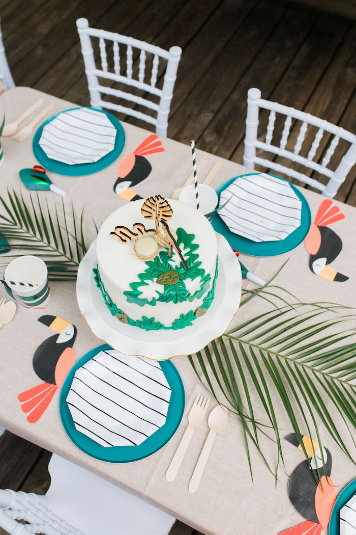 Jungle Themed Party Tabletop from a Jungle Birthday Party on Kara's Party Ideas | KarasPartyIdeas.com (11)