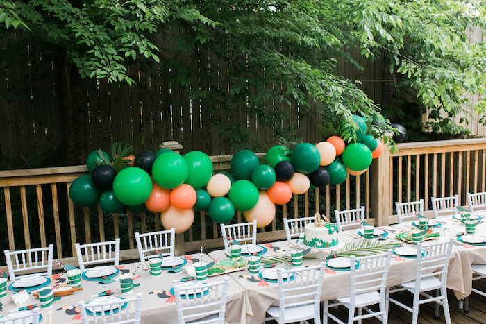Jungle Themed Guest + Party Table from a Jungle Birthday Party on Kara's Party Ideas | KarasPartyIdeas.com (6)