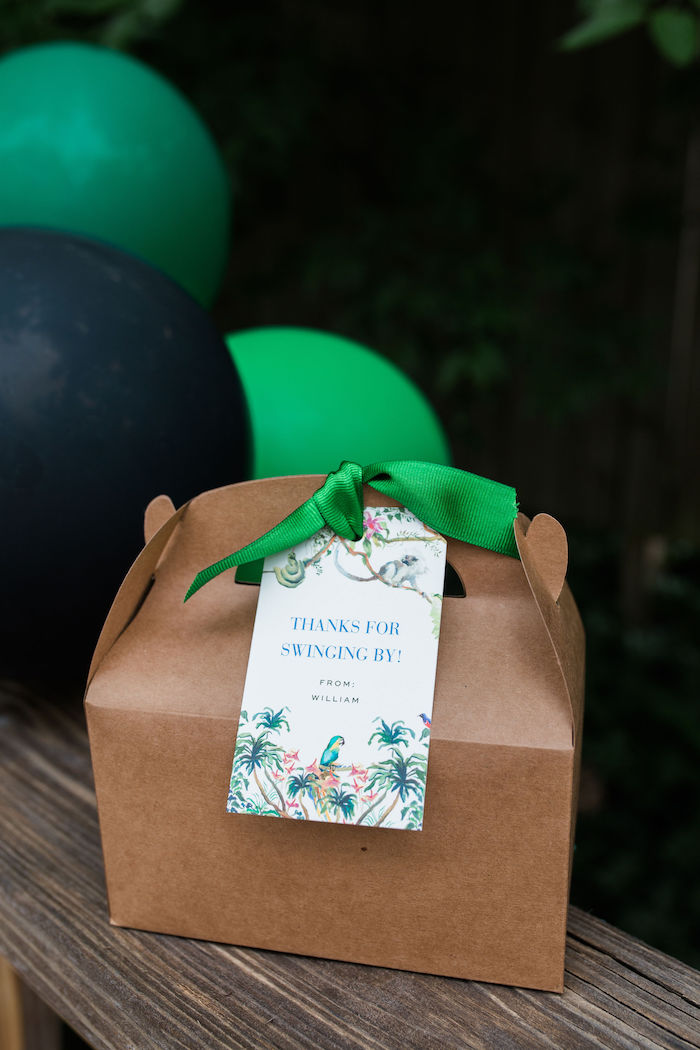 """""""Thank for Swinging By"""" Brown Gable Favor Box from a Jungle Birthday Party on Kara's Party Ideas 