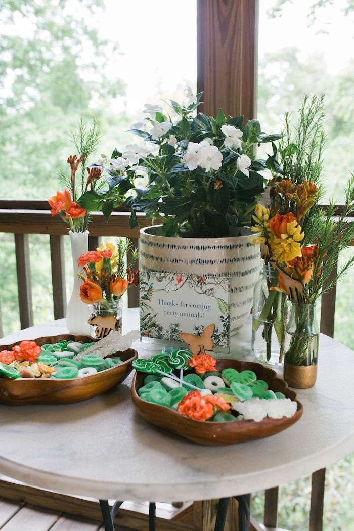 Jungle Party Table from a Jungle Birthday Party on Kara's Party Ideas | KarasPartyIdeas.com (27)