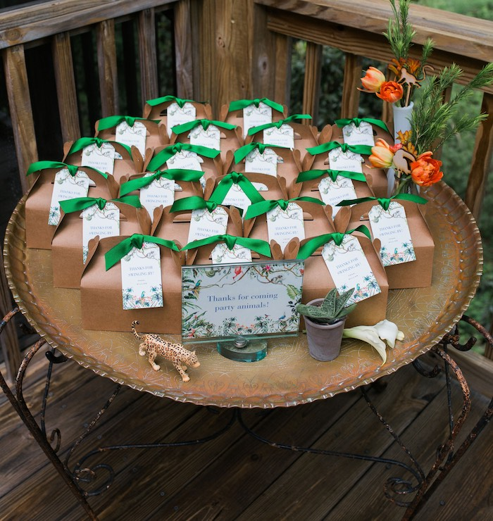 Jungle Party Favor Table + Gable Boxes from a Jungle Birthday Party on Kara's Party Ideas | KarasPartyIdeas.com (21)