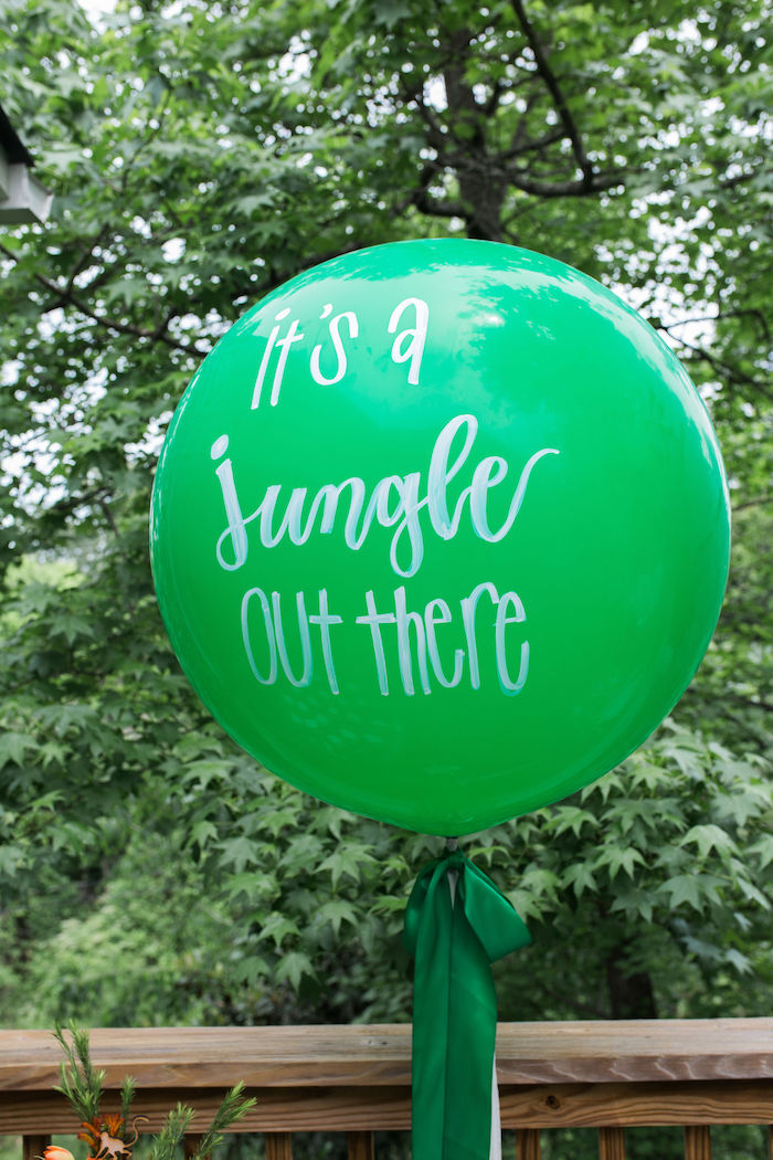 It's a jungle out there - Scripted Jumbo Balloon from a Jungle Birthday Party on Kara's Party Ideas | KarasPartyIdeas.com (20)