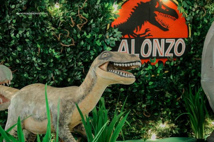 Giant Dinosaur Prop from a Jurassic Park Dinosaur Birthday Party on Kara's Party Ideas | KarasPartyIdeas.com (18)