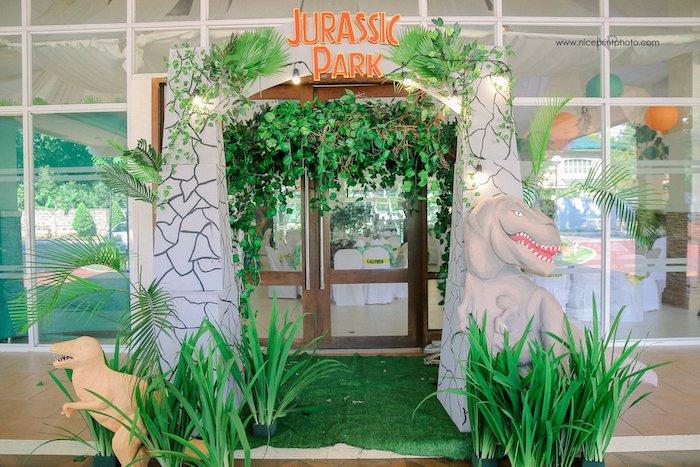 Jurassic Park Entrance Arch from a Jurassic Park Dinosaur Birthday Party on Kara's Party Ideas | KarasPartyIdeas.com (17)