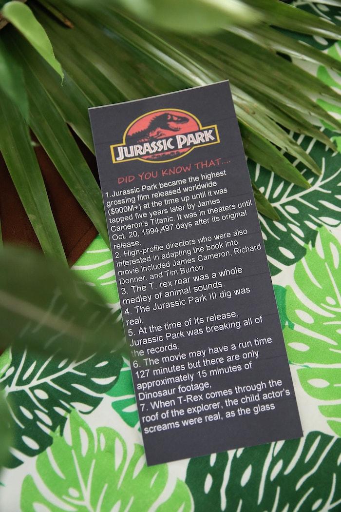 Fun Jurassic Park Fact Sheet from a Jurassic Park Dinosaur Birthday Party on Kara's Party Ideas | KarasPartyIdeas.com (15)