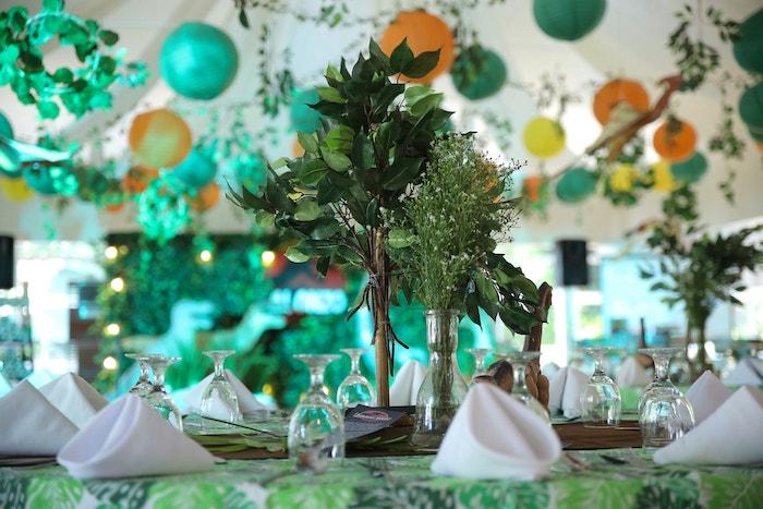 Dinosaur-inspired Guest Table from a Jurassic Park Dinosaur Birthday Party on Kara's Party Ideas | KarasPartyIdeas.com (14)