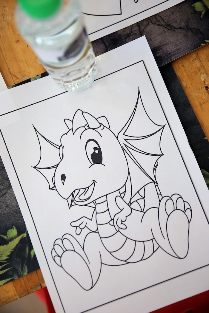 Dinosaur Coloring Page from a Jurassic Park Dinosaur Birthday Party on Kara's Party Ideas | KarasPartyIdeas.com (12)