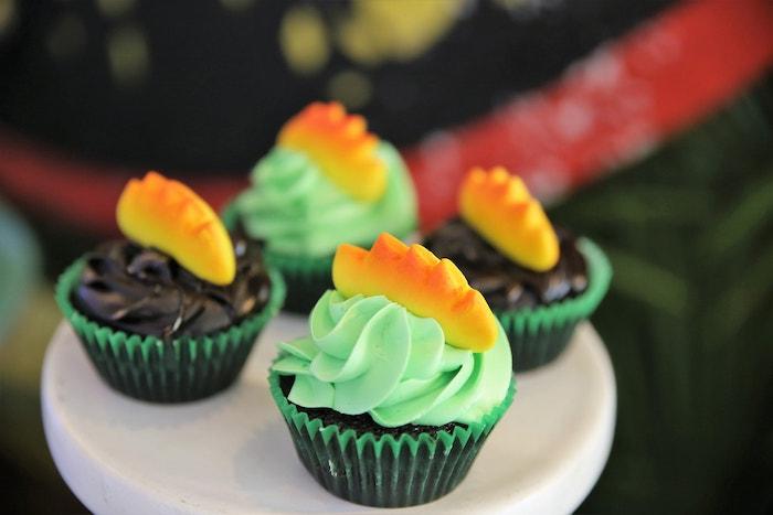 Dinosaur Themed Cupcakes from a Jurassic Park Dinosaur Birthday Party on Kara's Party Ideas | KarasPartyIdeas.com (11)