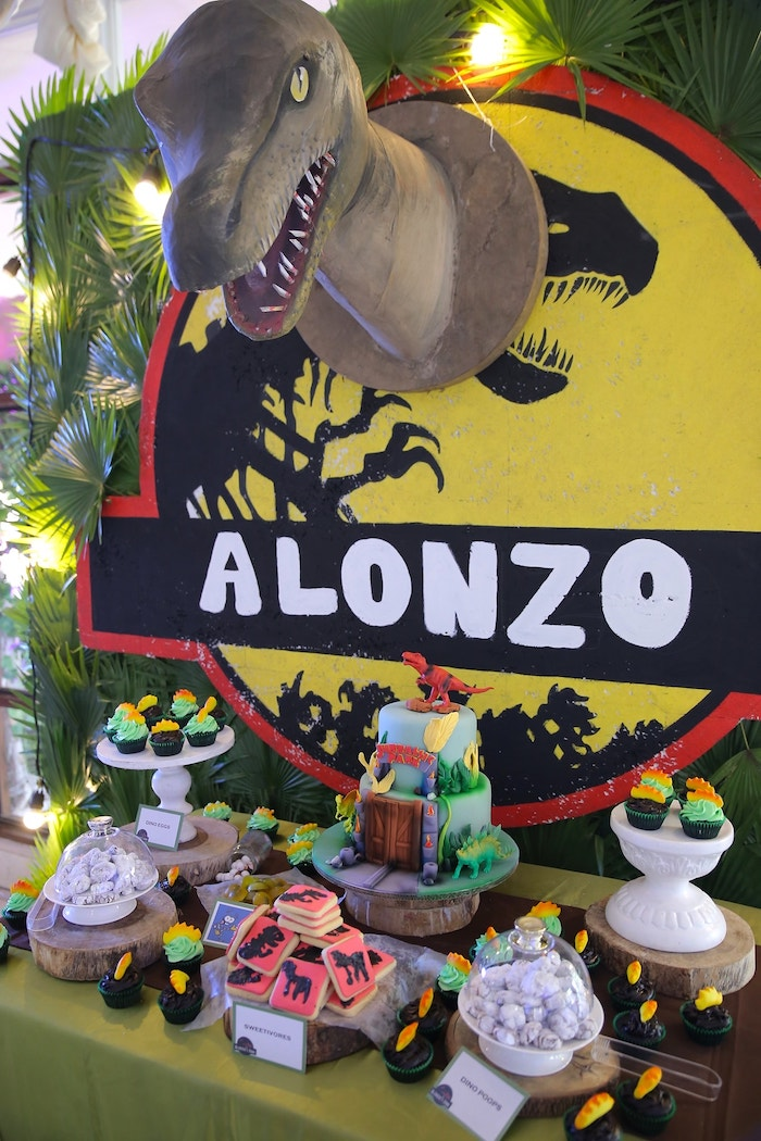 Jurassic Park Dessert Table from a Jurassic Park Dinosaur Birthday Party on Kara's Party Ideas | KarasPartyIdeas.com (10)