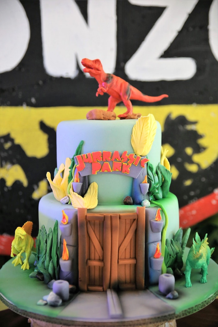 Jurassic Park Birthday Cake from a Jurassic Park Dinosaur Birthday Party on Kara's Party Ideas | KarasPartyIdeas.com (5)