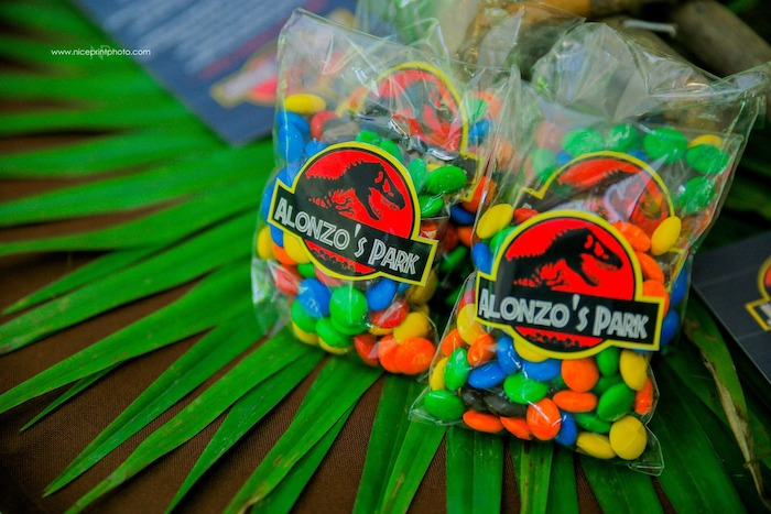 Jurassic Park-labeled Candy Favors from a Jurassic Park Dinosaur Birthday Party on Kara's Party Ideas | KarasPartyIdeas.com (24)