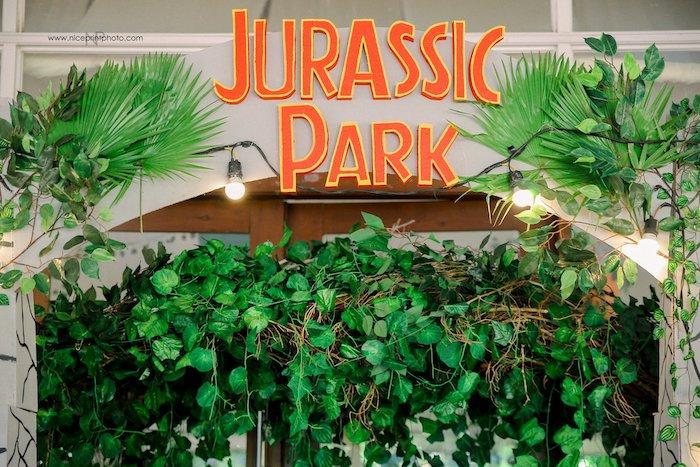 Jurassic Park Arch from a Jurassic Park Dinosaur Birthday Party on Kara's Party Ideas | KarasPartyIdeas.com (21)