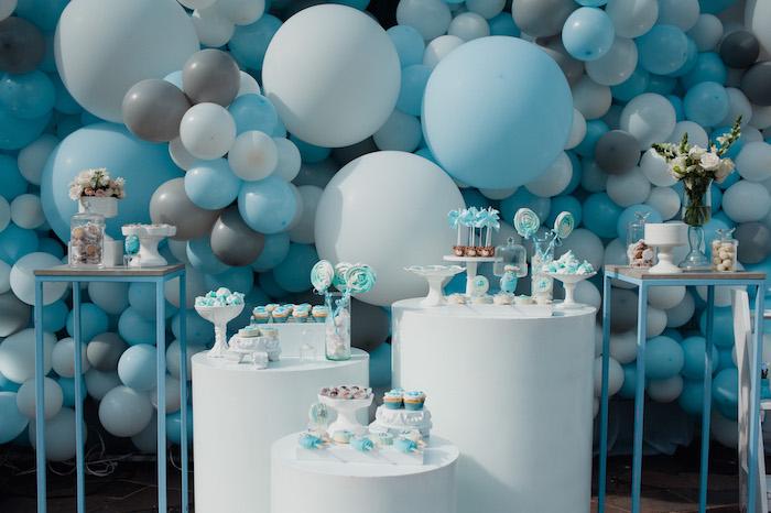Blue + White Pedestal Table Sweet Spread from aLittle Bear Baby Shower on Kara's Party Ideas | KarasPartyIdeas.com (20)