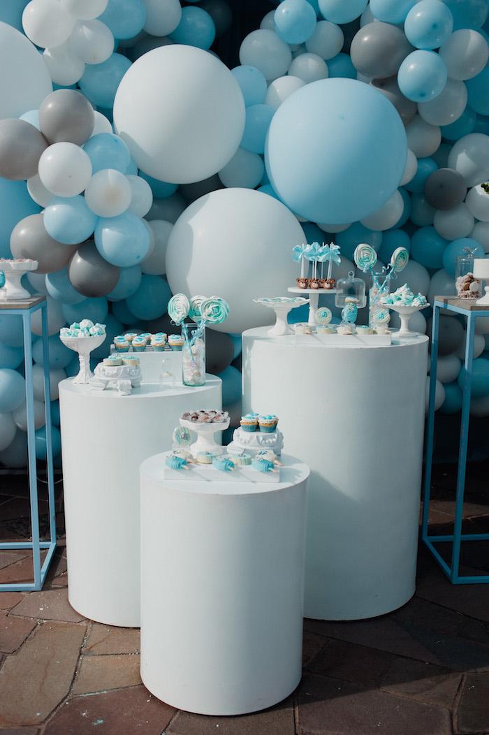 Blue + White Pedestal Table Sweet Spread from a Little Bear Baby Shower on Kara's Party Ideas | KarasPartyIdeas.com (19)