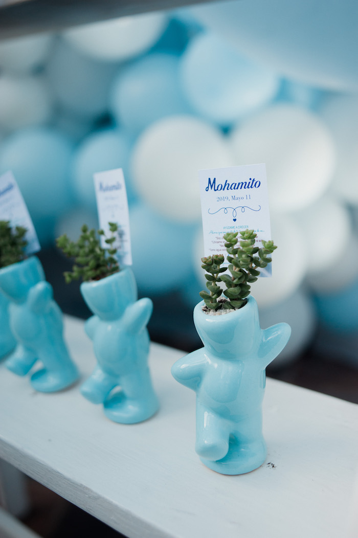 Blue Bear Planter Favors from a Little Bear Baby Shower on Kara's Party Ideas | KarasPartyIdeas.com (15)