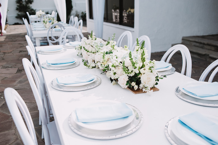 Elegant White & Blue Guest Table from a Little Bear Baby Shower on Kara's Party Ideas | KarasPartyIdeas.com (14)