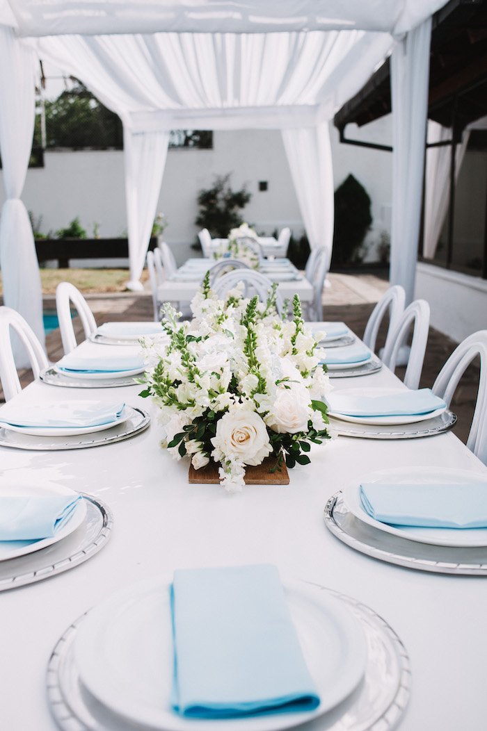 Elegant White & Blue Guest Table from a Little Bear Baby Shower on Kara's Party Ideas | KarasPartyIdeas.com (13)