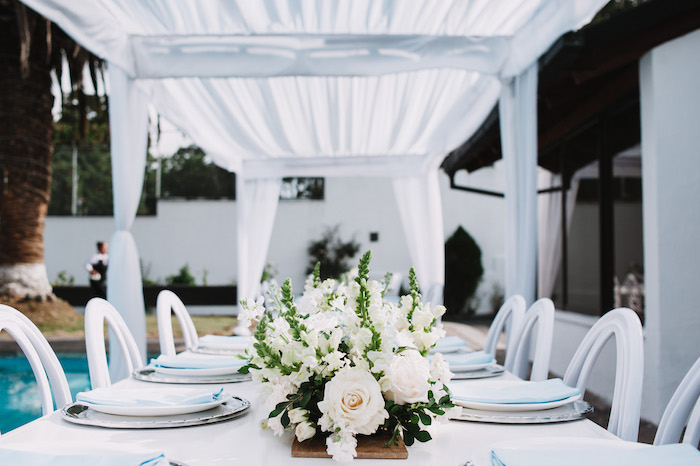 Elegant White & Blue Guest Table from a Little Bear Baby Shower on Kara's Party Ideas | KarasPartyIdeas.com (12)