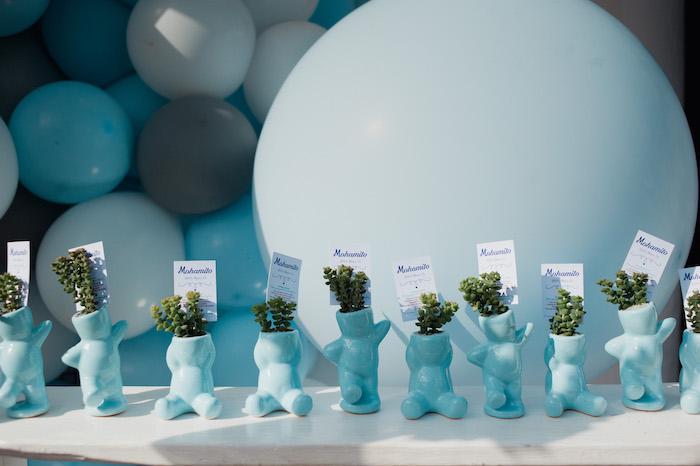 Blue Bear Planter Favors from a Little Bear Baby Shower on Kara's Party Ideas | KarasPartyIdeas.com (7)