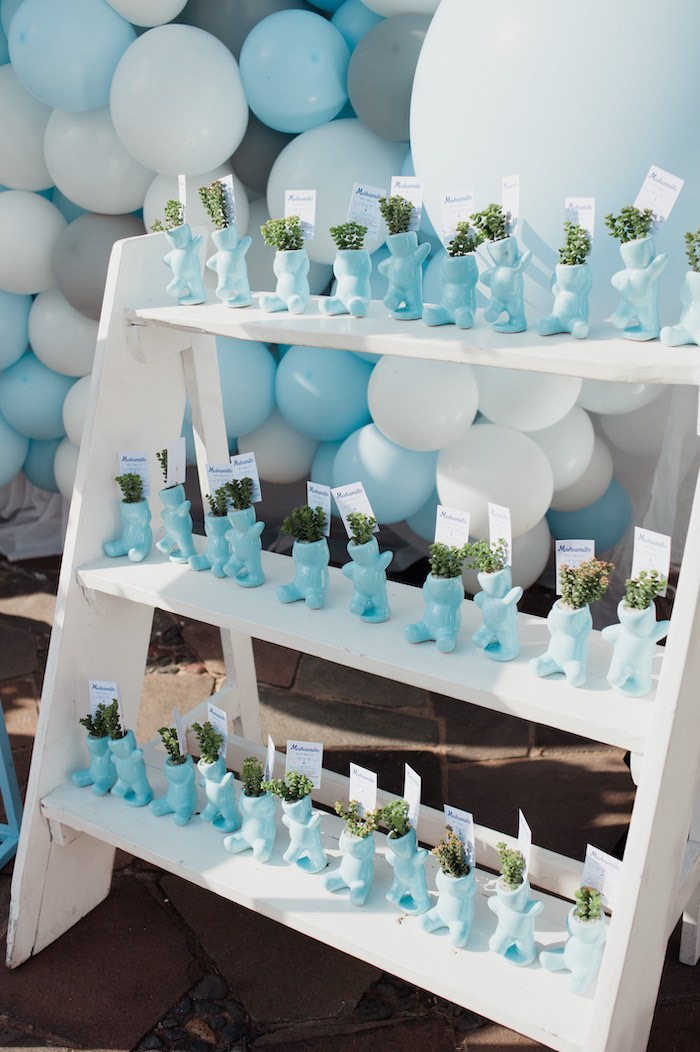 Blue Bear Planter Favors from a Little Bear Baby Shower on Kara's Party Ideas | KarasPartyIdeas.com (6)