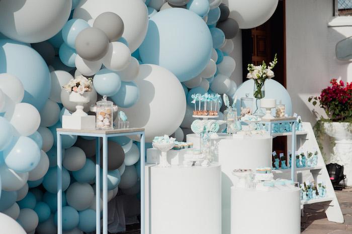 Blue + White Sweet Spread from a Little Bear Baby Shower on Kara's Party Ideas | KarasPartyIdeas.com (5)