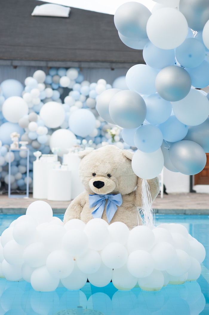 Floating Plush Bear + Balloon Installation from a Little Bear Baby Shower on Kara's Party Ideas | KarasPartyIdeas.com (4)