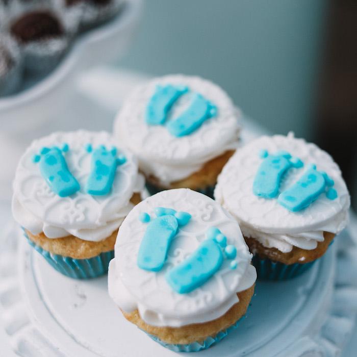Footprint Cupcakes from a Little Bear Baby Shower on Kara's Party Ideas | KarasPartyIdeas.com (24)