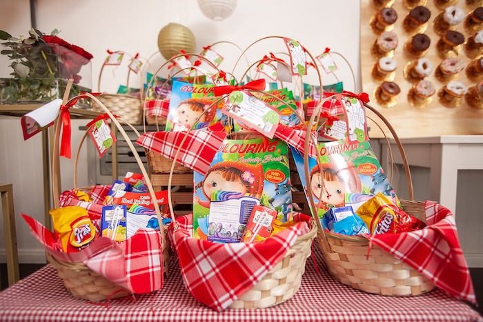 Little Red Riding Hood-inspired Party Favor Baskets from a Little Red Riding Hood Birthday Party on Kara's Party Ideas | KarasPartyIdeas.com (12)
