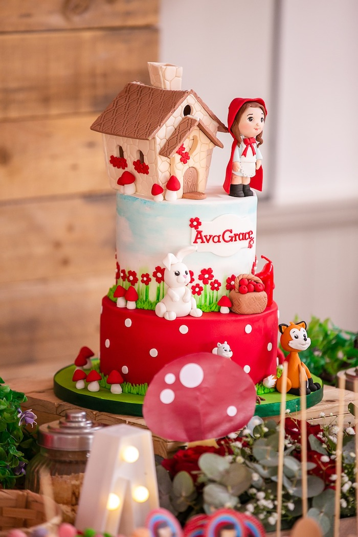 Little Red Riding Hood Birthday Cake from a Little Red Riding Hood Birthday Party on Kara's Party Ideas | KarasPartyIdeas.com (10)