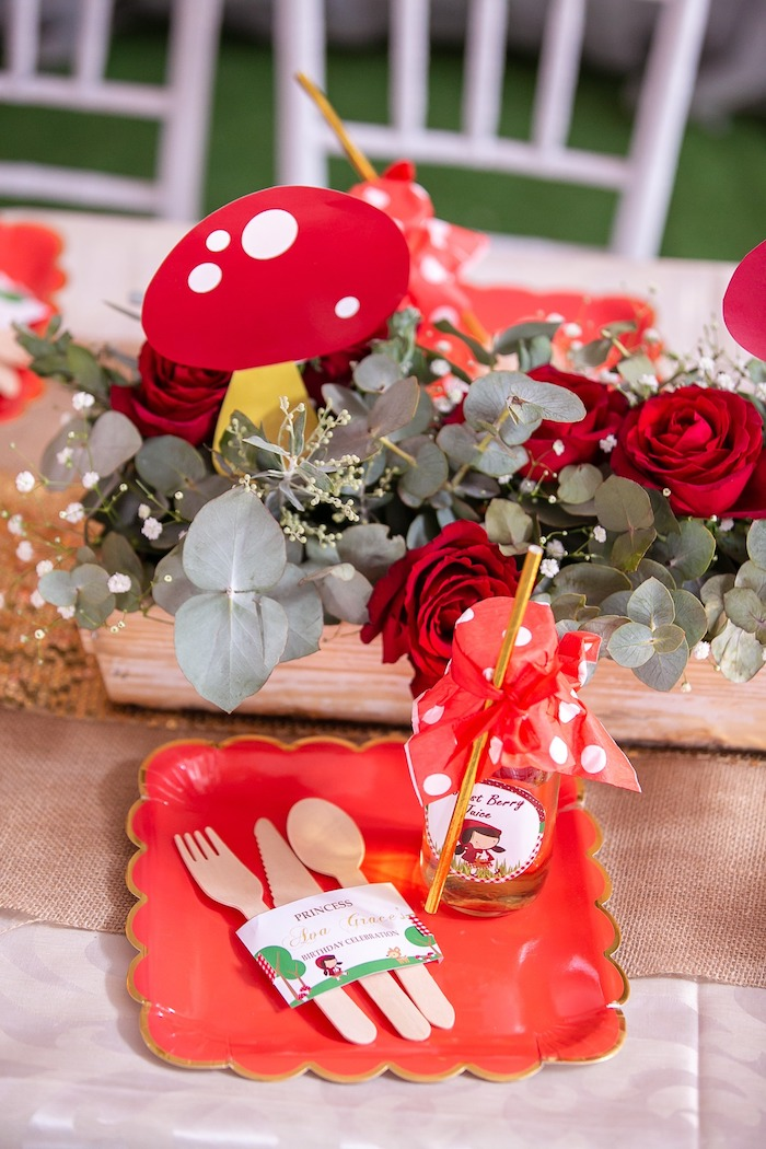 Little Red Riding Hood-inspired Woodland Table Setting from a Little Red Riding Hood Birthday Party on Kara's Party Ideas | KarasPartyIdeas.com (8)