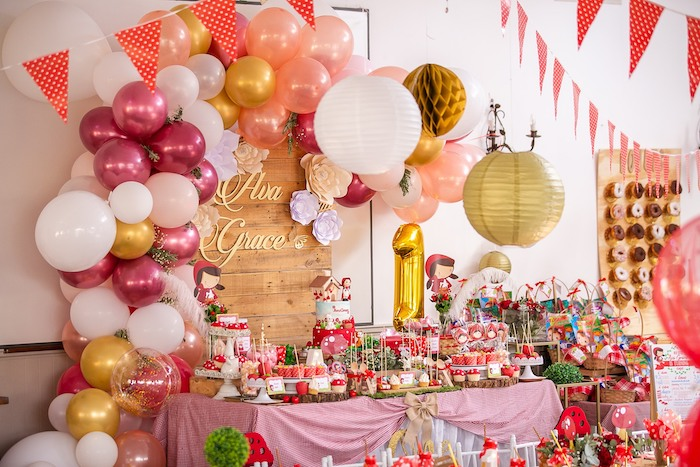 Little Red Riding Hood Themed Dessert Table from a Little Red Riding Hood Birthday Party on Kara's Party Ideas | KarasPartyIdeas.com (19)