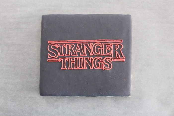 Stranger Things Logo Sugar Cookie on Kara's Party Ideas | KarasPartyIdeas.com