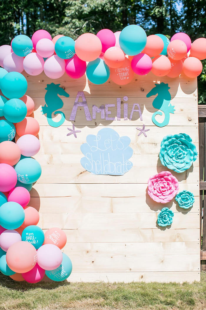 Under the Sea-inspired Party Backdrop from a Mermaid Birthday Party on Kara's Party Ideas | KarasPartyIdeas.com (11)