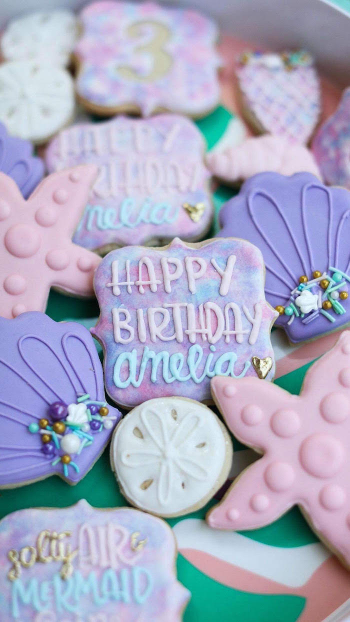 Under the Sea Cookies from a Mermaid Birthday Party on Kara's Party Ideas | KarasPartyIdeas.com (7)